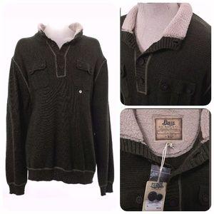 NEW BASS XL Sherpa Sweater Button Mock XL NWT Mens